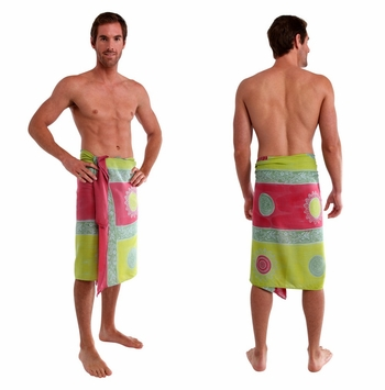 Baliku Mens Sarong in Pink And Green Fringeless