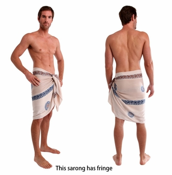 Baliku Mens Sarong in White and Grey