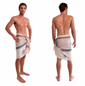 Baliku Mens Sarong in White and Grey  Fringeless