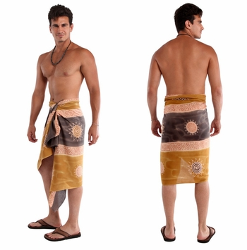 Baliku Mens Sarong in Yellow And Grey Fringeless