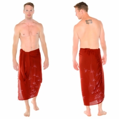 Bamboo Mens Sarong in Burgundy