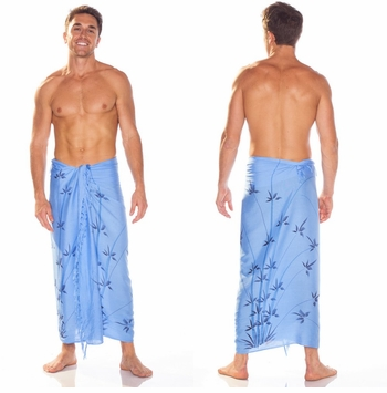 Bamboo Mens Sarong in Light Blue