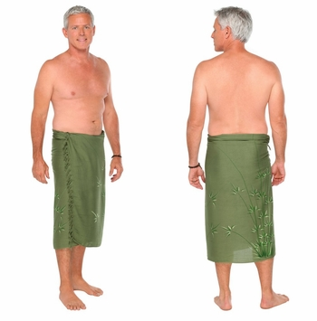 Bamboo Mens Sarong in Olive Green