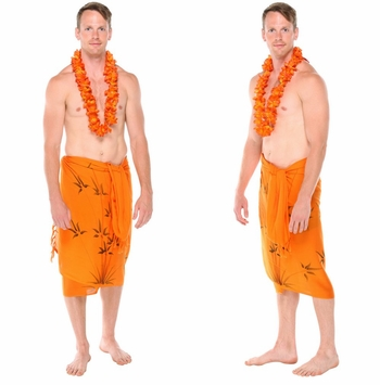 Bamboo Mens Sarong in Orange