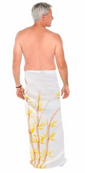Bamboo Mens Sarong in White