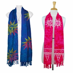 Batik Abstract Sun Design Scarf, Wrap or Shawl - in your choice of colors
