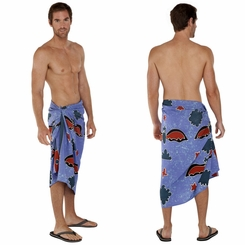 Bats Mens Sarong Light Blue