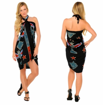 Bats Top Quality Sarong in Black