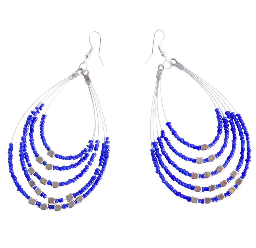 Beaded Hoop Earrings in Blue