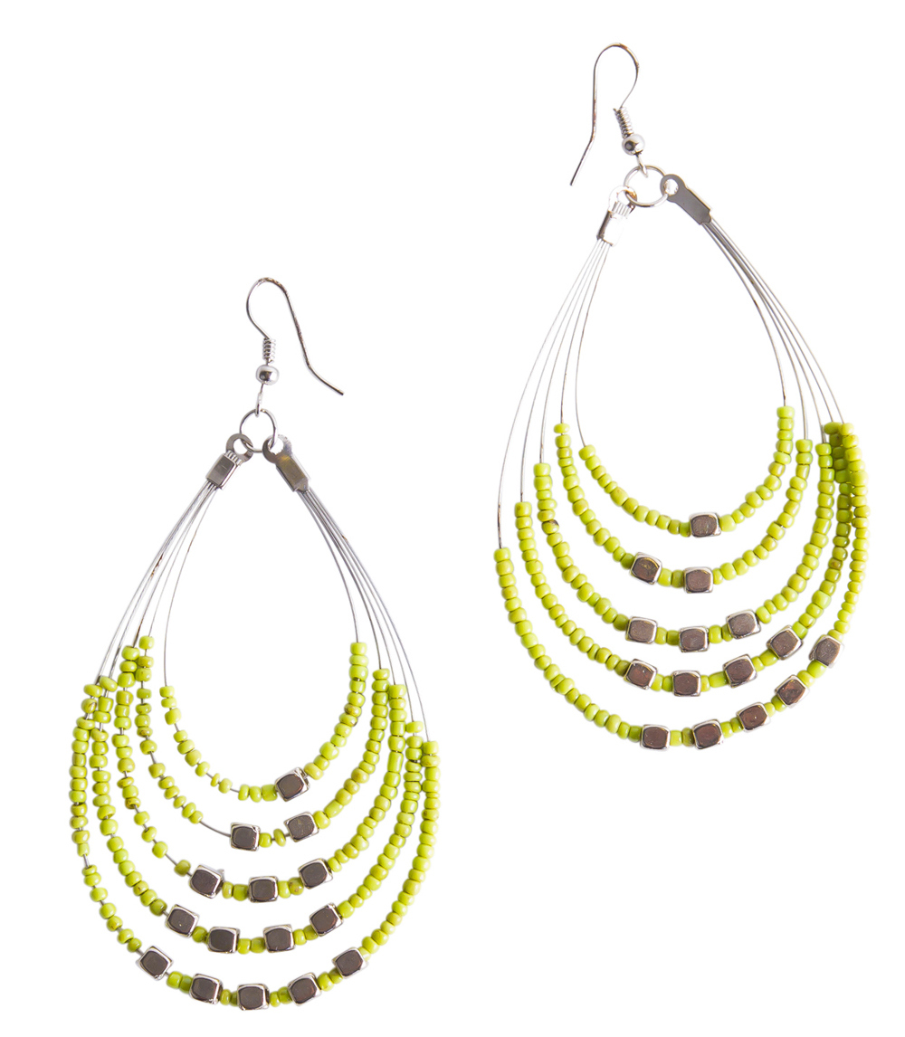 Beaded Hoop Earrings in Green