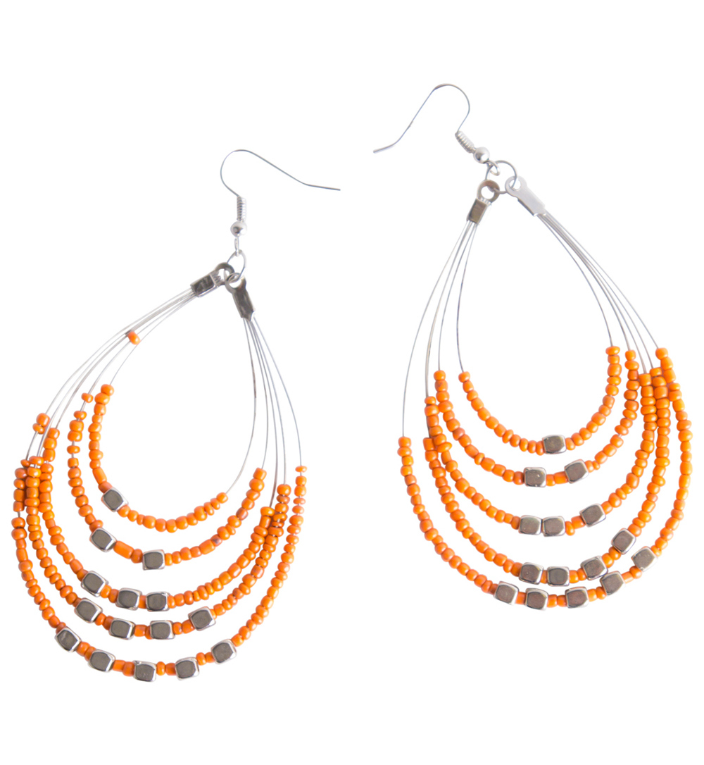 Beaded Hoop Earrings in Orange
