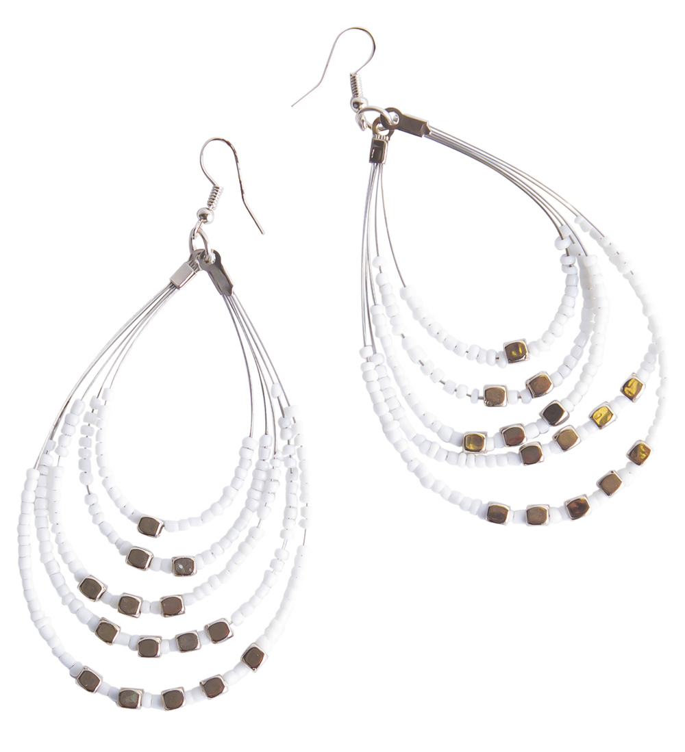 Beaded Hoop Earrings in White