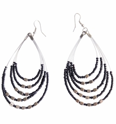 "Beaded Hoop Earrings ""Oval Drops"" Black and Silver"