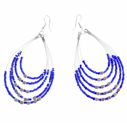 "Beaded Hoop Earrings ""Oval Drops"" Royal Blue"