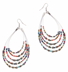 "Beaded Hoop Earrings ""Oval Drops"" Rainbow"