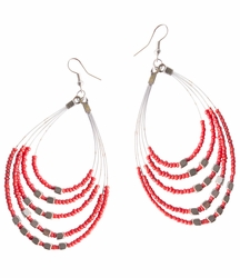 "Beaded Hoop Earrings ""Oval Drops"" Cherry Red"