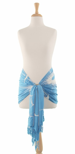 Big Hibiscus Floral Half Sarong in Light Blue