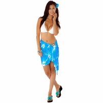 "Floral Half Sarong ""Sea Gypsy"" Turquoise and White"