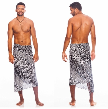 Black and White Feline 2 Mens Sarong