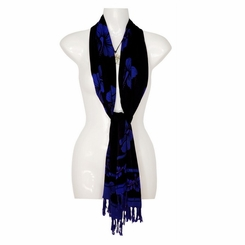 Black Hibiscus Floral Design Plus Size Neck Scarf, Wrap or Shawl - in your choice of colors