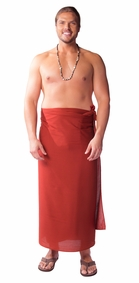 """Burgundy"" Solid Mens Sarong PLUS SIZE"