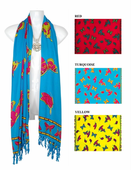 Butterfly Design Extra Wide Neck Scarf, Wrap or Shawl - in your choice of colors