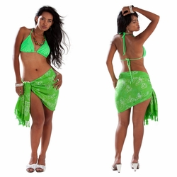 """Butterfly Half Sarong """"Lime Green / White"""""""