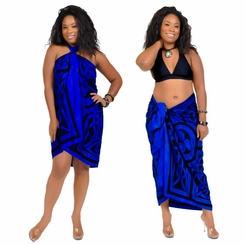Celtic Circles Top Quality Sarong in Cool Blue FRINGELESS