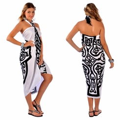 Celtic Cross Sarong in White