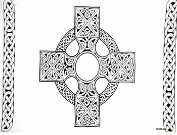Celtic Mens Sarong Celtic Cross 1 in White and Black