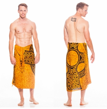 "Celtic Mens Sarong ""Celtic Cross 1"" Soft Gold"