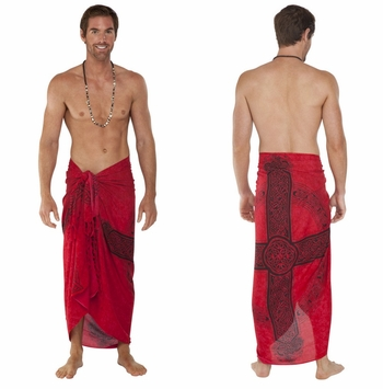 "Celtic Mens Sarong ""Celtic Cross 3"" Red"