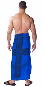 "Celtic Mens Sarong ""Celtic Cross 3"" Royal Blue"