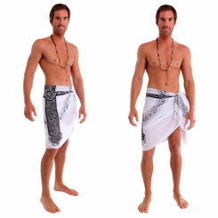 "Celtic Mens Sarong ""Celtic Cross 3"" White"
