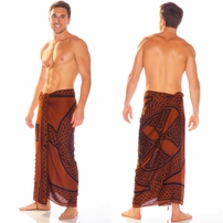 "Celtic Mens Sarong ""Celtic Cross and Circle"" Brown"