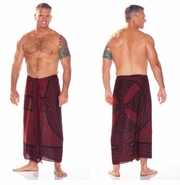 "Celtic Mens Sarong ""Celtic Cross and Circle"" Burgundy"
