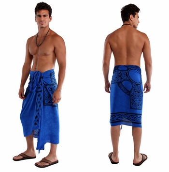 "Celtic Mens Sarong ""Celtic Cross"" Royal Blue"