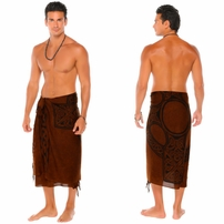 Celtic Mens Sarong in Celtic Cross 1 Deep Brown