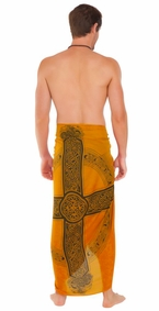 Celtic Mens Sarong in Celtic Cross 3 Gold
