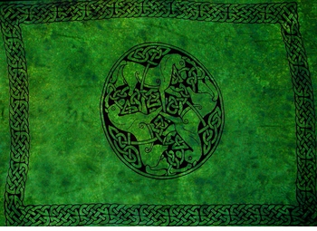Celtic Mens Sarong in Horses Emerald Green