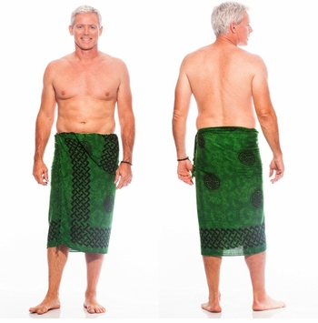 Celtic Mens Sarong in Interlace Knotwork Emerald Green