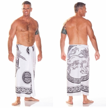 Celtic Mens Sarong in Unicorn Black / White