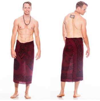 Celtic Mens Sarong in Unicorn Deep Burgundy