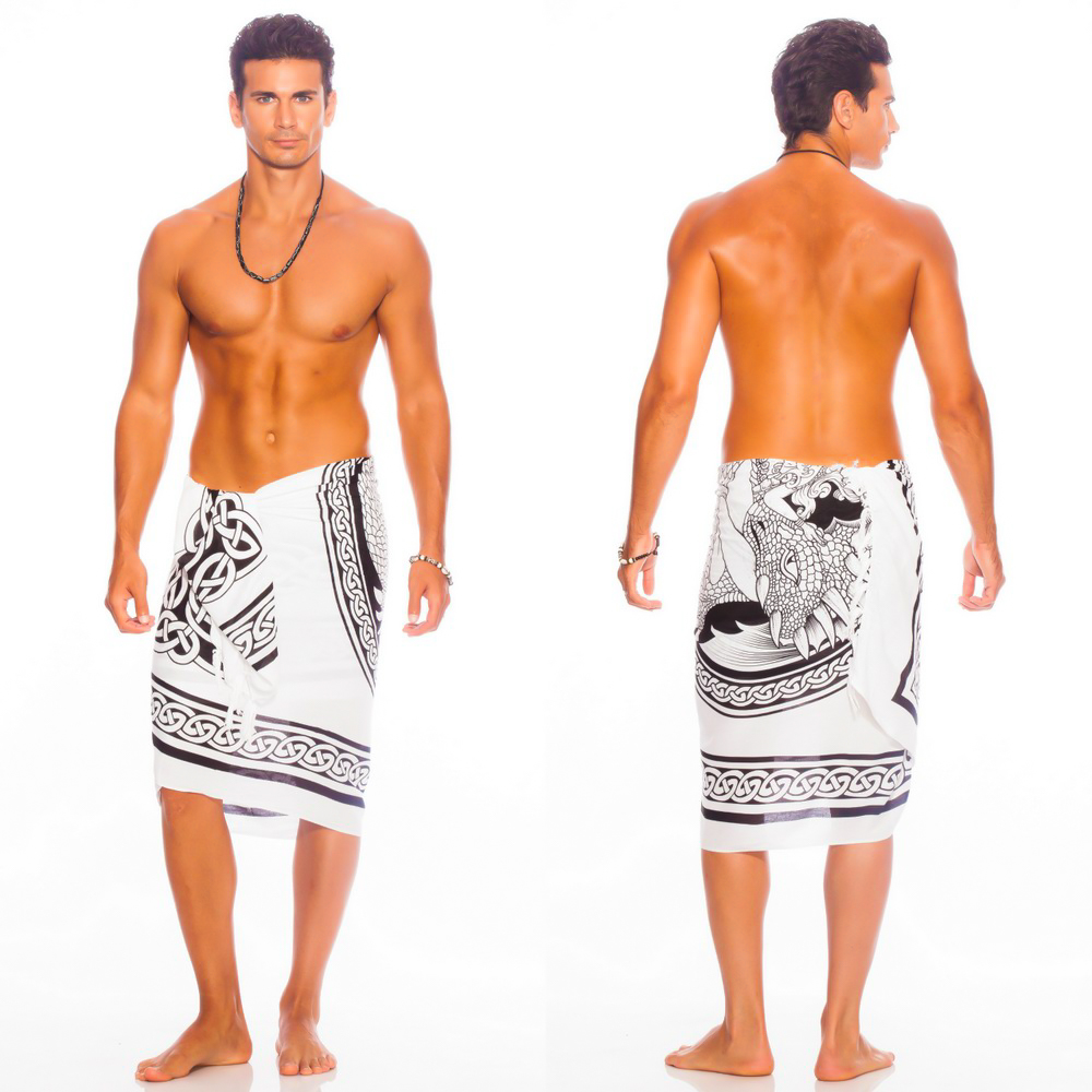 "Celtic Mens Sarong ""Maiden and The Dragon"" Black / White"