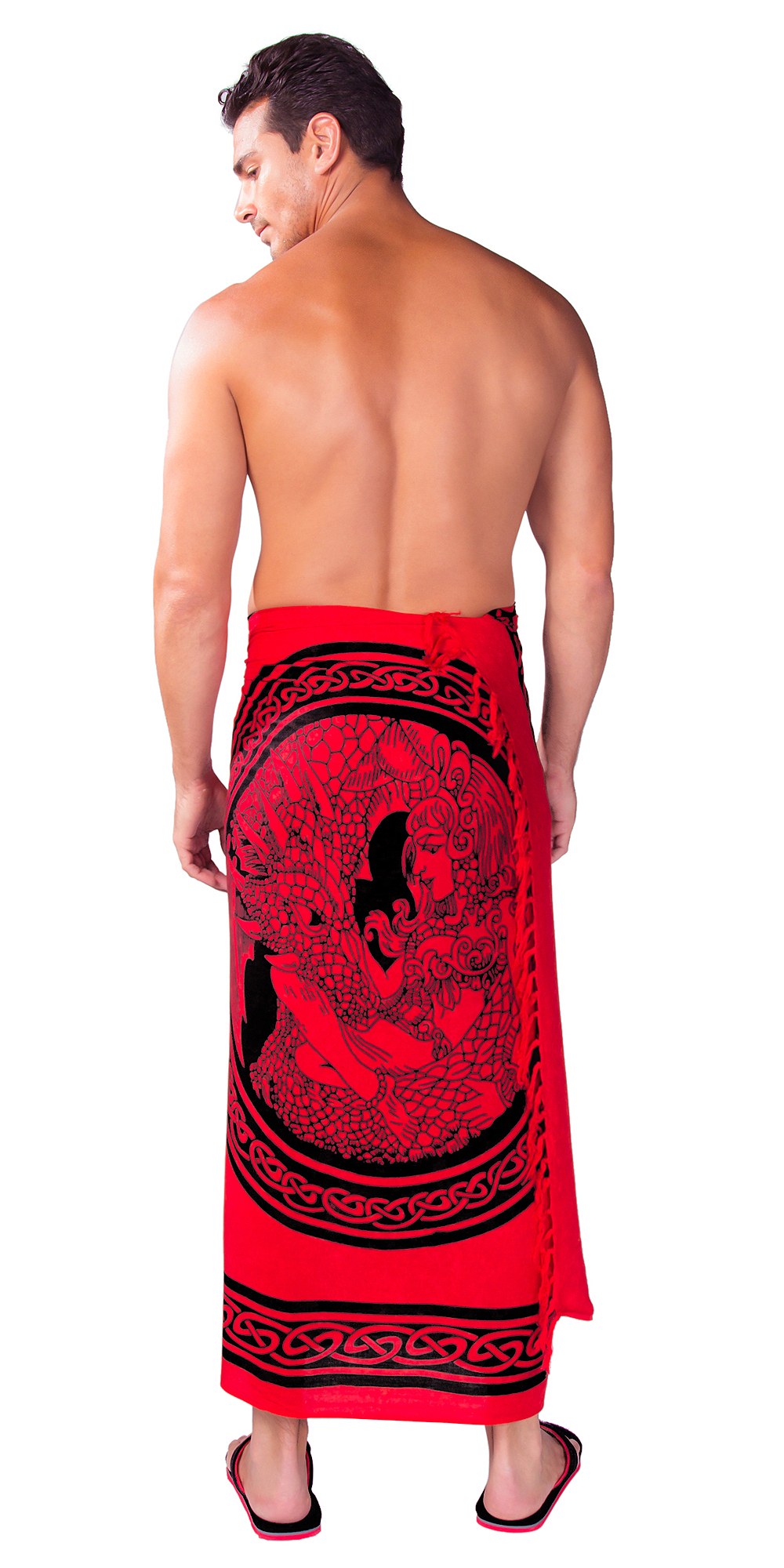 "Celtic Mens Sarong ""Maiden and The Dragon"" Rose Red"
