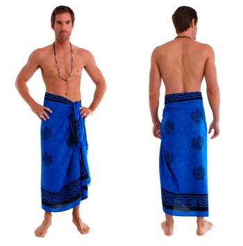 "Celtic Mens Sarong ""Shamrock Trinity"" Blue"