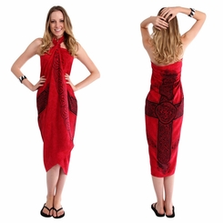 "Celtic Sarong ""Celtic Cross 3"" Red"