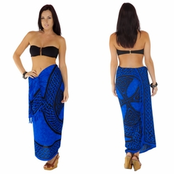 "Celtic Sarong ""Celtic Cross and Circle"" Blue"