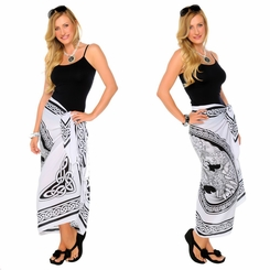 """Celtic Sarong """"Maiden and The Dragon"""" Black / White"""