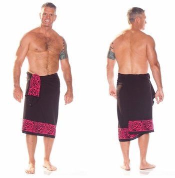 "Celtic Tribal Border Mens Sarong ""Pink"""